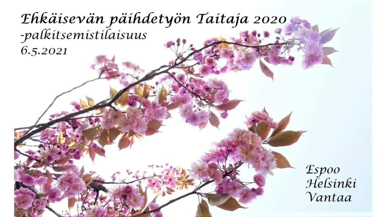 Ehkäisevän päihdetyön taitaja 2020 -palkitsemistilaisuus