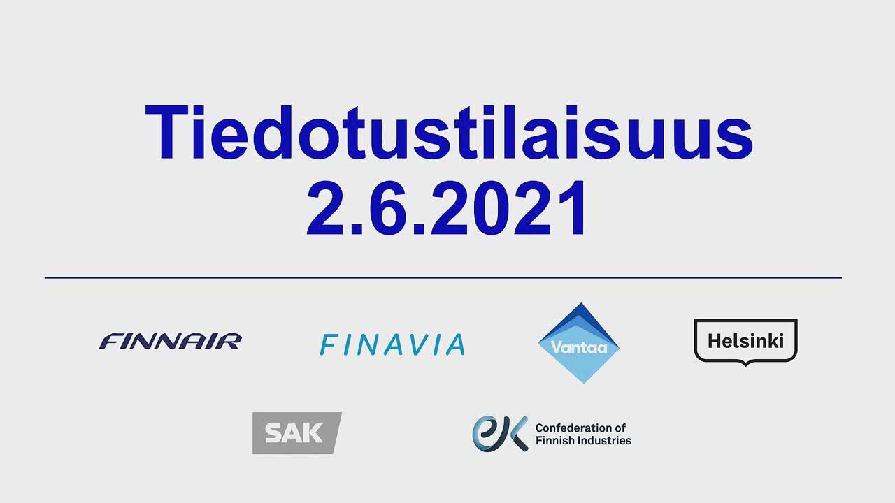 Helsingin, Vantaan, Finavian, Finnairin, SAK:n ja EK:n tiedotustilaisuus STM:n koronaan liittyvän rajaturvallisuuslakiluonnoksen ongelmakohdista
