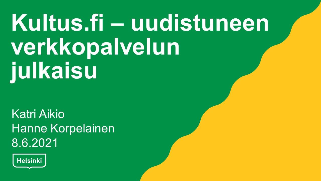 Kultus.fi: uudistuneen verkkopalvelun julkaisu